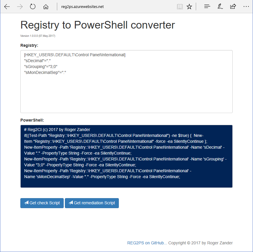 Registry to PowerShell converter